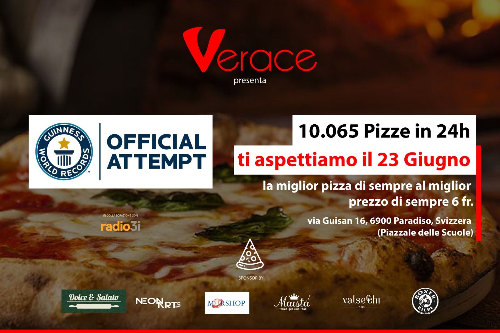 23 giugno: Pizza World Record a Paradiso